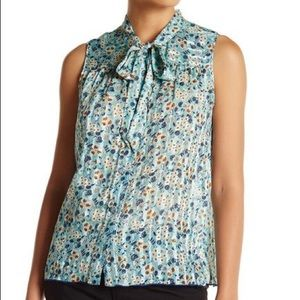 Anna Sui Silk Floral Tie-Neck Sleeveless Blouse
